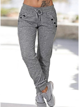 Solid Plus Size Drawstring Casual Sporty Lounge Pants