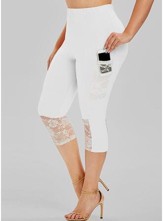 Solid Lace Capris Sexy Plus Size Jacquard Pocket Pants Leggings