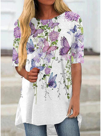 Floral Print Butterfly Round Neck 1/2 Sleeves T-shirts