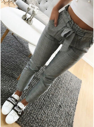 Plaid Shirred Plus Size Elegant Plain Pants