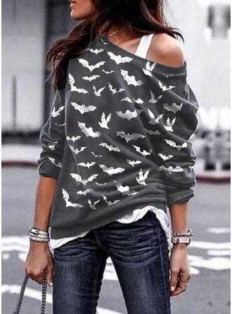 Halloween Animal Print One Shoulder Long Sleeves Sweatshirt