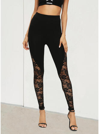Solid Lace Long Casual Jacquard Pants