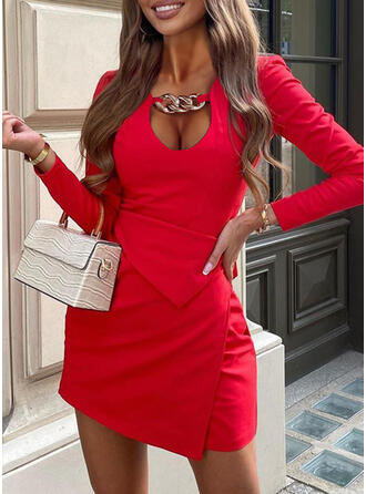 Solid Long Sleeves Sheath Above Knee Elegant Dresses