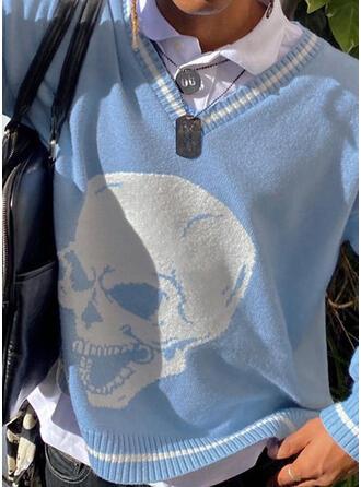 Halloween Print Skull head V-Neck Casual Sweaters