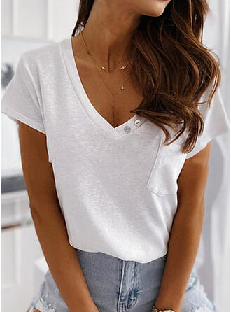 Solid V-ringning Korta ärmar Fritids Basic T-shirts