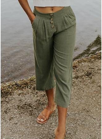 Solid Linen Cropped Plus Size Pocket Shirred Button Lounge Pants