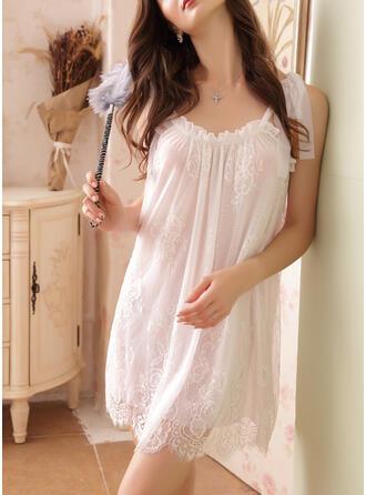 Polyester Elastan Spets Spets Blommig Rund-ringning Sexig Lockande Pyjamasuppsättning