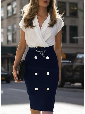 Color Block Short Sleeves Bodycon Knee Length Casual/Elegant Pencil Dresses