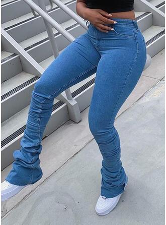 Solid Shirred Elegant Vinobranie Denim & Jeans