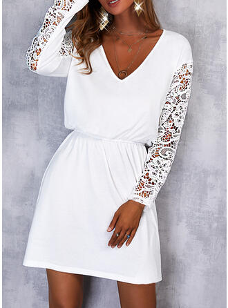 Solid Lace Long Sleeves Sheath Above Knee Casual Dresses