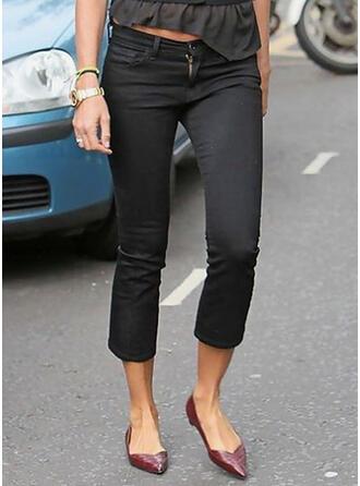 Solid Denim Cropped Plus Size Office/Business Pocket Denim & Jeans