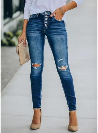 Long Elegant Shirred Ripped Pants Denim & Jeans