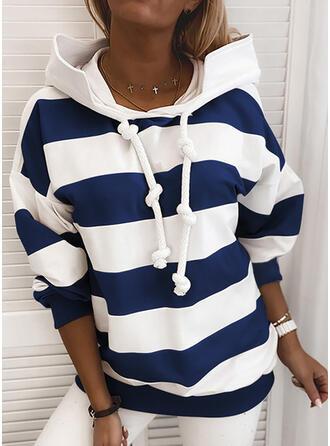 Color Block Striped Hoodie Long Sleeves Casual Blouses