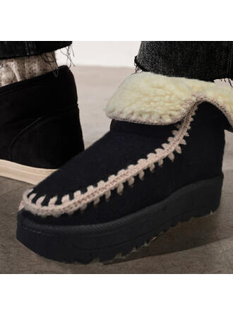 Women's Suede Flat Heel Snow Boots Round Toe With Splice Color shoes