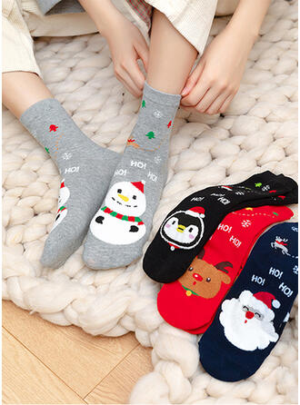 Print Animal Designed/Christmas/Crew Socks/Unisex Socks (Set of 4 pairs)