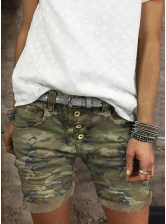 Plus Size Camouflage Casual Vintage Shorts