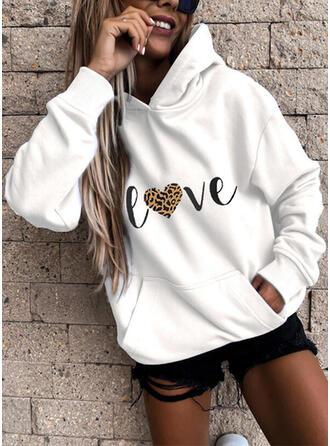 Print Leopard Heart Long Sleeves Hoodie