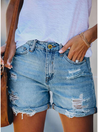 Ripped Casual Vintage Shorts Denim & Jeans