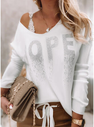 Letter Round Neck Long Sleeves Dropped Shoulder Casual Blouses