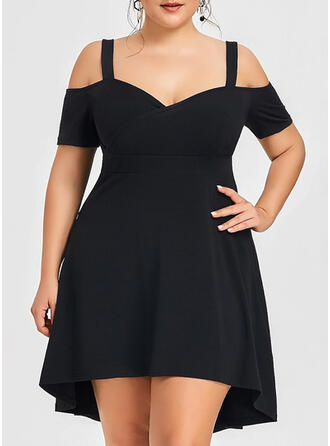 Plus Size Solid Short Sleeves A-line Above Knee Little Black Party Dress