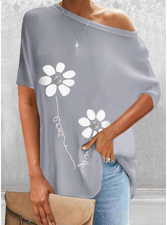 Print Floral Figure One Shoulder Short Sleeves Casual Blouses