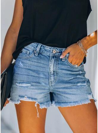 Shirred Tassel Sexy Vintage Shorts Denim & Jeans