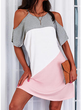 Color Block Short Sleeves Cold Shoulder Sleeve Shift Above Knee Casual Tunic Dresses