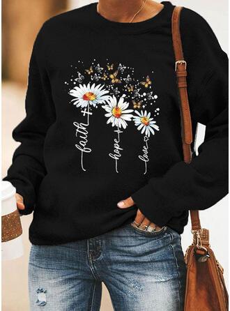 Print Floral Letter Animal Round Neck Long Sleeves Sweatshirt