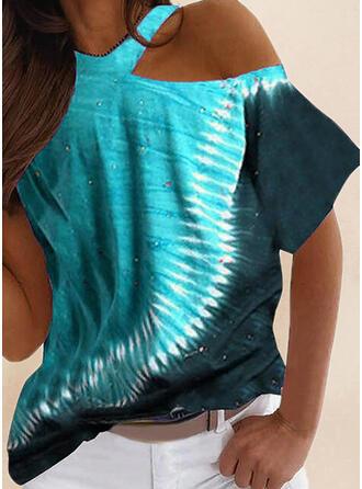 Print Tie Dye One Shoulder Short Sleeves T-shirts