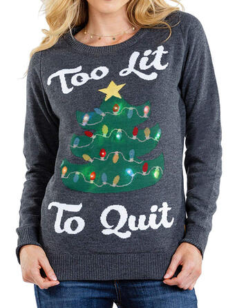 Kvinnor polyester Print Brev Ugly Christmas Sweater