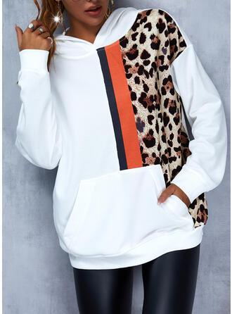 Color Block Leopard Hooded Long Sleeves Hoodie