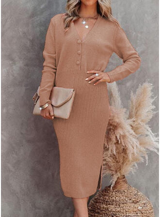 Solid Knit Long Sleeves Bodycon Sweater/Pencil Elegant Midi Dresses