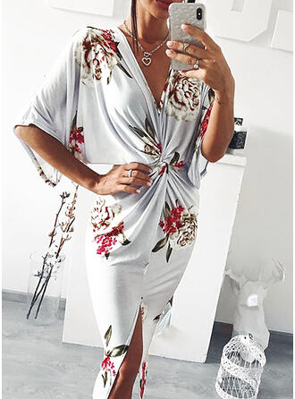 Print/Floral 1/2 Sleeves Bodycon Casual/Vacation Midi Dresses
