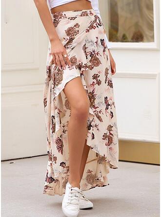 Chiffon Print Floor Length High-Slit Skirts Asymmetrical