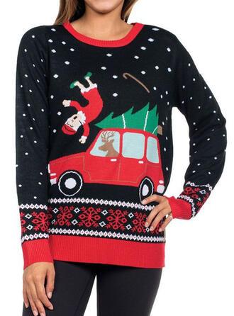 Kvinnor polyester Jultomten Ren Tecknad Ugly Christmas Sweater