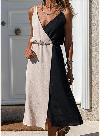Sequins/Color Block Sleeveless A-line Wrap/Skater Casual Midi Dresses