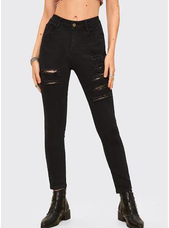 Solid Rev Lång Sexig Mager Denim & Jeans