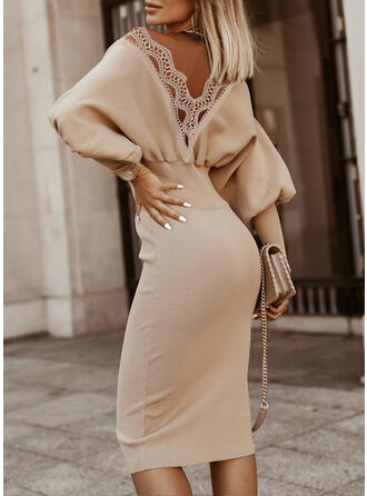 Solid Lace Round Neck Casual Long Tight Sweater Dress