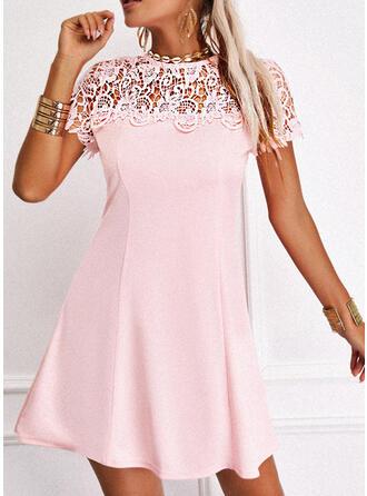 Lace/Solid Short Sleeves A-line Above Knee Elegant Skater Dresses