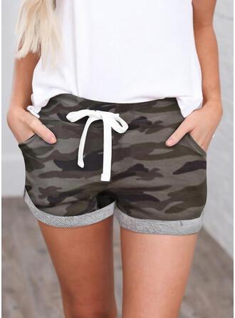 Shirred Kamouflage Mini Fritids Sportig Shorts
