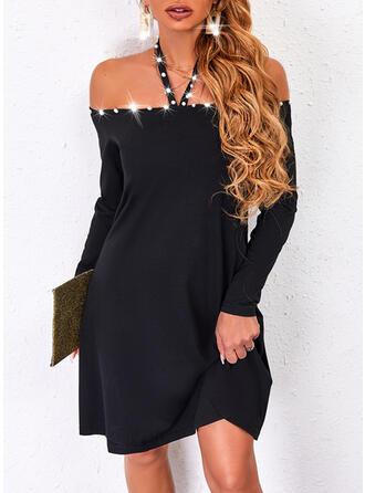 Solid Long Sleeves Shift Above Knee Little Black/Elegant Dresses