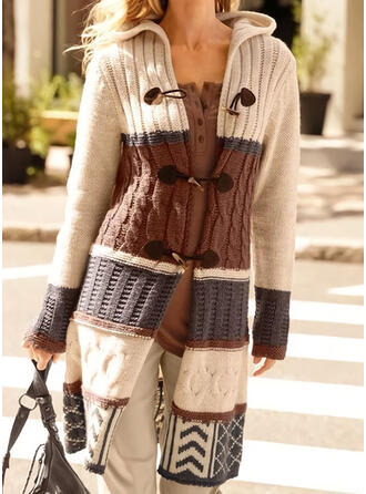 Color Block Cable-knit Hooded Casual Long Cardigan