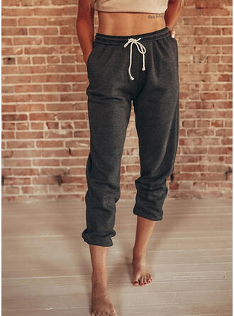 Solid Drawstring Casual Sporty Lounge Pants