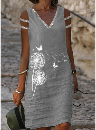 Sequins/Animal Print Short Sleeves Shift Knee Length Casual Tunic Dresses