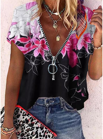 Print Floral V-Neck 3/4 Sleeves Casual Shirt Blouses