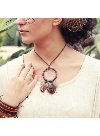 Fashionable Boho Feather Leather Rope Women's Necklaces