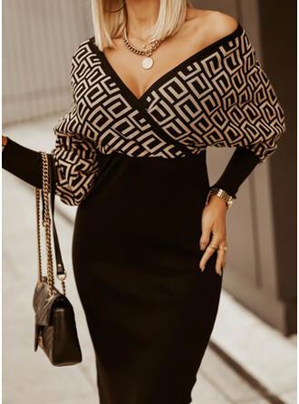 Print Long Sleeves Bat Sleeve Bodycon Knee Length Casual Sweater Dresses