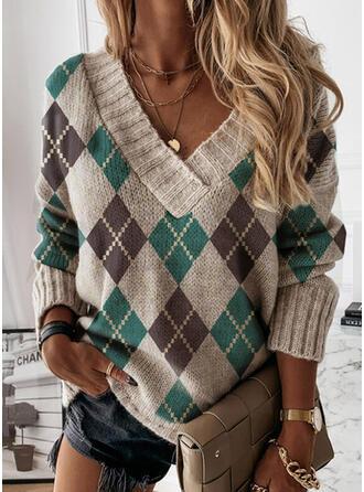 Geometric Print V-Neck Casual Sweaters