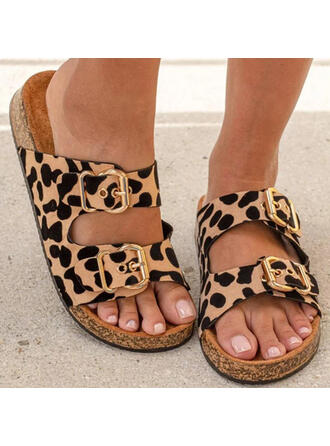 Women's Suede Flat Heel Sandals Flats Platform Peep Toe Slippers With Buckle Animal Print Hollow-out shoes