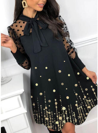 Sequins/PolkaDot Long Sleeves A-line Above Knee Elegant Skater Dresses